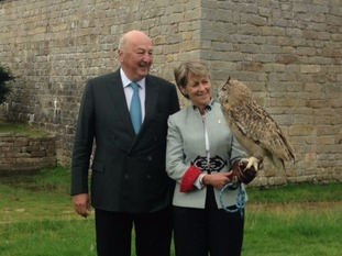 Duke and Duchess of Devonshire open Chatsworth Country Fair alongside Oozo the owl.