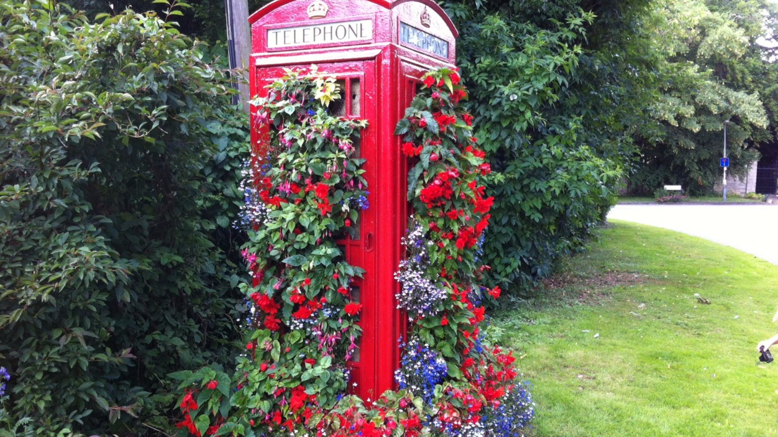 Old Phone Box Turned Into Giant Hanging Basket Central