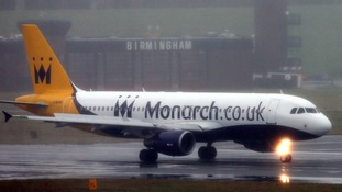 A Monarch plane at Birmingham Airport.