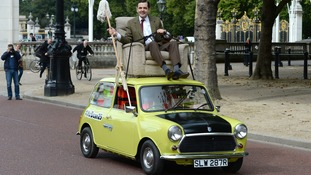 Mr Bean takes his mini for a royal spin for his 25th anniversary