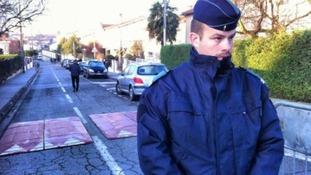 Police man on street.