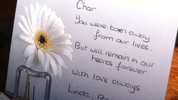 Tribute reads 'you were torn away from our lives but will remain in our hearts forever'