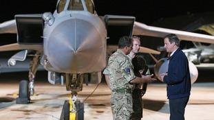 David Cameron visits an RAF base.