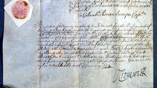 A letter signed by Oliver Cromwell