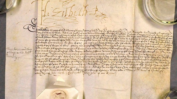 The letter signed by Queen Elizabeth I