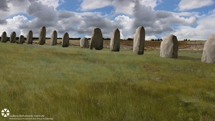 An artist's impression of how the Durrington Walls monoliths may have looked more than 4,500 years ago.