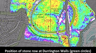Graphic shows the position of the Durrington Walls monoliths near Stonehenge.