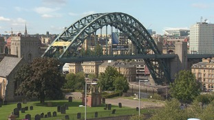 The Great North Run sign displayed on the Tyne Bridge.