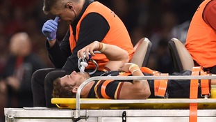 Halfpenny was taken off on a stretcher during Wales' game against Italy on Saturday.