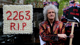 Queen guitarist Brian May at the protest outside Defra today.
