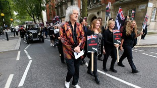 Brian May leading the funeral cortege in central London today.