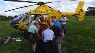 The woman was airlifted to hospital.