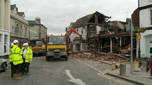 The clear-up after the fire that devastated Sudbury town centre is continuing