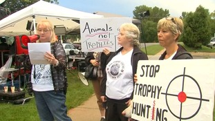 Protesters outside Walter Palmer's surgery