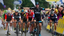 Stage winner Elia Viviani crosses the finish line during Stage Three of the Tour of Britain from Cockermouth to Floors Castle.