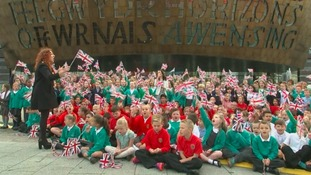 The children sang for the Queen outside of The Millennium Centre, Cardiff Bay