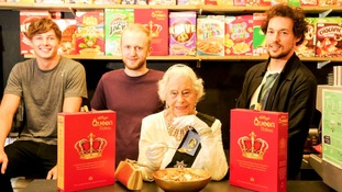 Inspecting the cereal was Her Majesty's lookalike, Jeanette Vane, who gave it an approving royal glance.