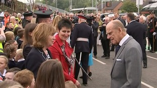 The Queen was joined by the Duke of Edinburgh in meeting members of the crowd.