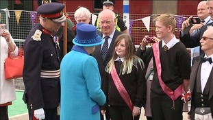 Her Majesty was also introduced to school children on the historic day she becomes Britain's longest reigning monarch.