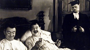 Stan Laurel and Oliver Hardy in a Chump at Oxford