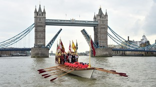 A Royal River Salute sailed under Tower Bridge in London to celebrate the day.