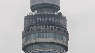 London's BT Tower delivered a message across the city to mark the special occasion.