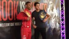 Kell Brook (left) and Jamie McDonnell at the weigh in ahead of their fights
