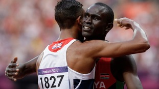 Andrew Osagie congratulates the World Record Holder