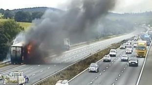 Chaos on M6 as emergency services tackle large fire