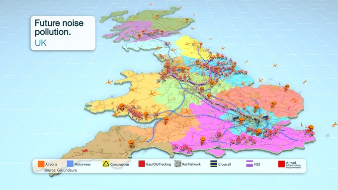 a noise map shows the locations of major construction projects and planning fracking developments