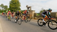 Riders cross the Lion Bridge at Alnwick during Stage Four of the Tour of Britain from Edinburgh to Blyth.