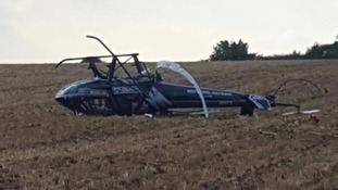 Helicopter pilot's miracle escape after crash landing
