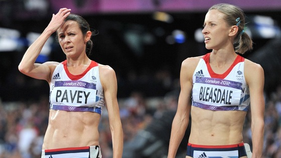 Great Britain's Jo Pavey and Julia Bleasdale after the Women's 5000m final at the Olympic Stadium.