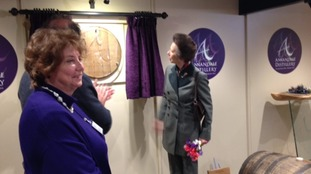 Princess Anne at the distillery.