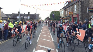 Hundreds have lined the streets to watch the race come through Northumberland.