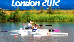Jess Walker competing in the Women's Kayak Single (K1) 200m Semi Final yesterday.