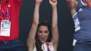 The Duchess of Cambridge pictured supporting Team GB on Friday.
