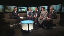 Paul Brand and guests (l-r): Labour MP Helen Goodman, Conservative Kevin Hollinrake, Richard Arkless (SNP) and Sir Alan Beith (Lib Dem)