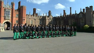 The Fijians sang a hymn outside Hampton Court Palace