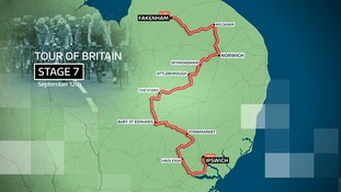 Route of Stage 7 of the Tour of Britain cycle race on Saturday 12 September 2015.