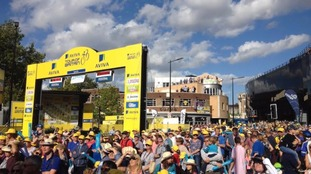 The crowds at the finish line in Ipswich.