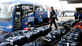 team USA prepare to board their tour bus