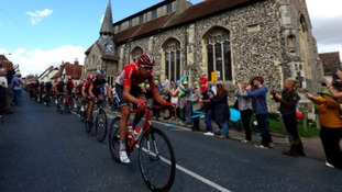 The peloton moves into Needham Market in Suffolk.
