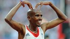 Mo Farah celebrates winning the Men's 5,000m