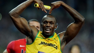 Jamaica's Usain Bolt celebrates winning the Men's 4x100m Relay