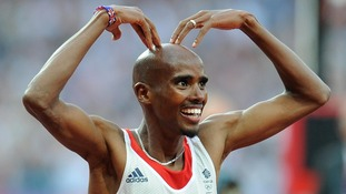 Mo Farah celebrates winning the Men's 5,000m Final