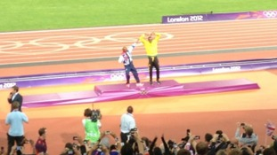 Mo Farah does the Bolt and Usain does the Mo-bot on the Olympic podium