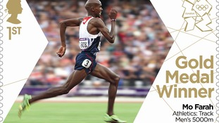 Mo Farah's second gold medal stamp