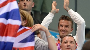 David Beckham watches on from the stands.