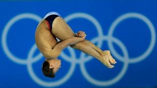 Daley dives during the men's 10m platform final.